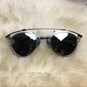 Dior Style silver mirrored sunglasses